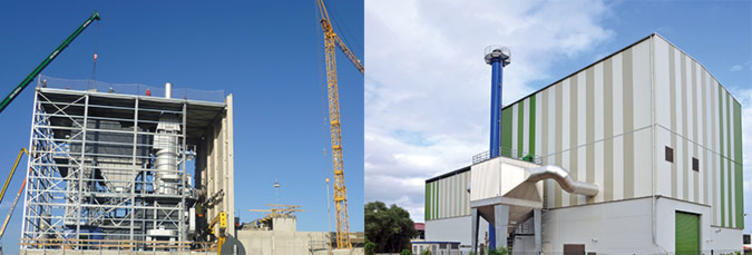 Biomass heating plant under construction and in production